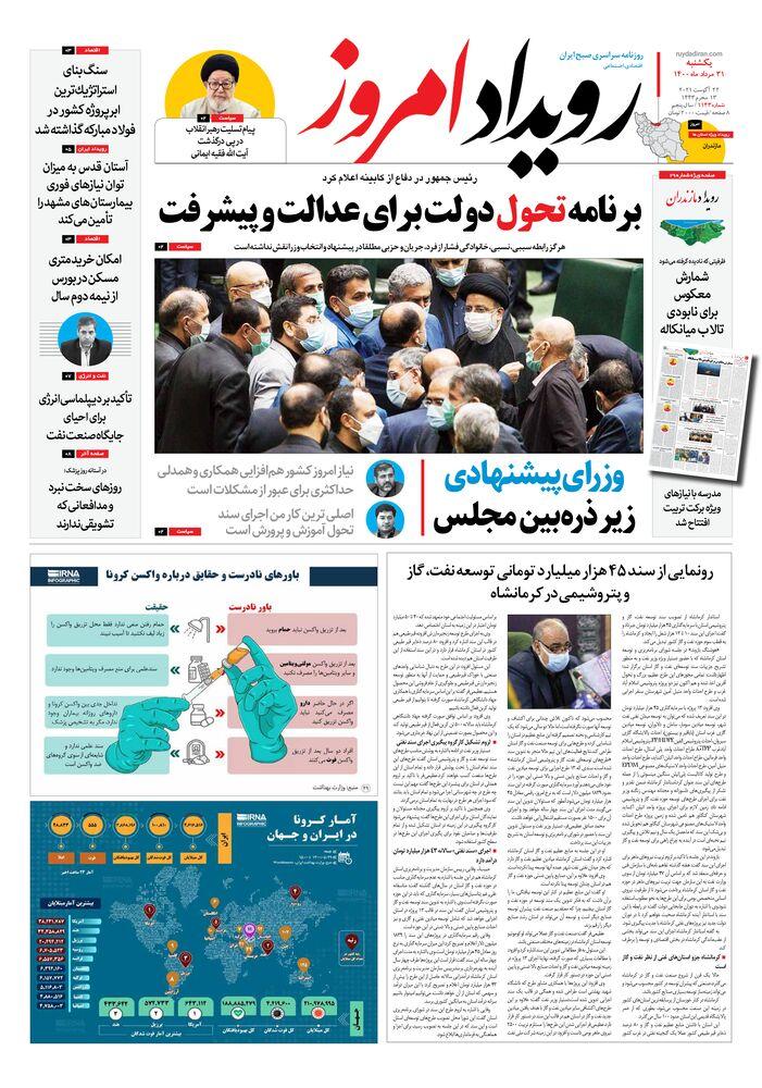 روزنامه رویداد امروز شماره 1143